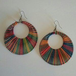 Jewelry - womens colorful hoop string earrings